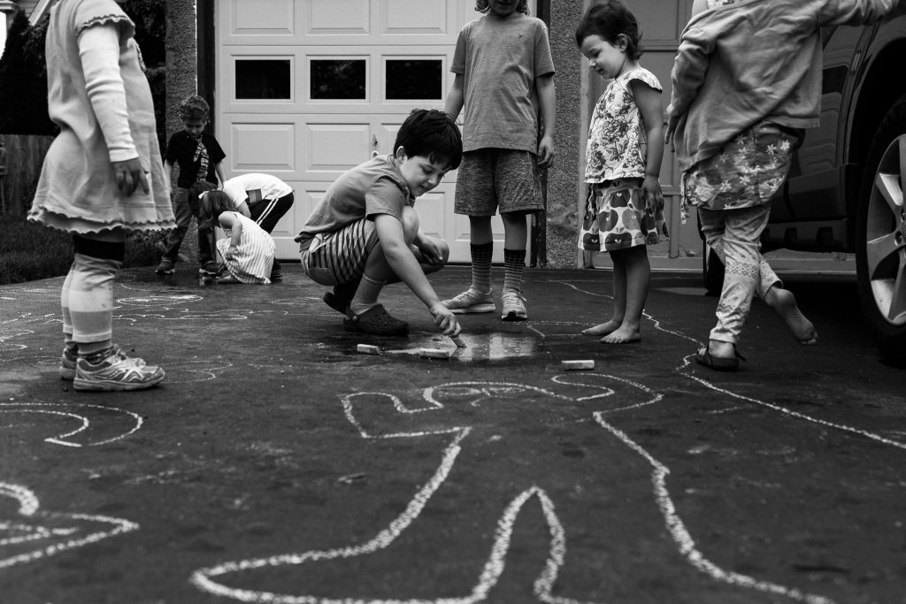 neighborhood, friends, kids playing, sidewalk chalk