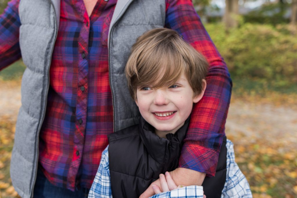 fall photos, plaid, boy smiling